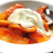 Fried Nectarines Recipe with Vanilla Mascarpone from shewearsmanyhats.com