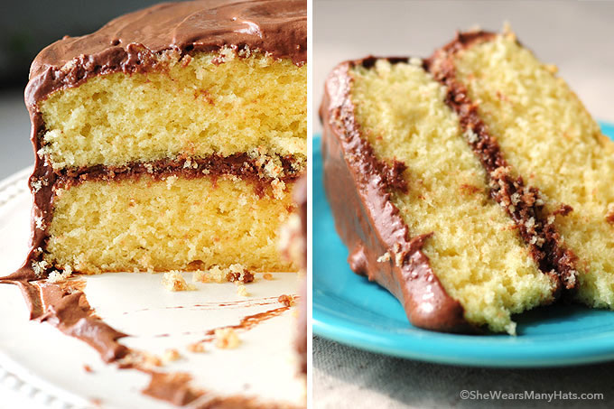 Yellow Butter Cake with Chocolate Malted Buttercream Frosting