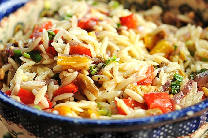 orzo with roasted vegetables and feta