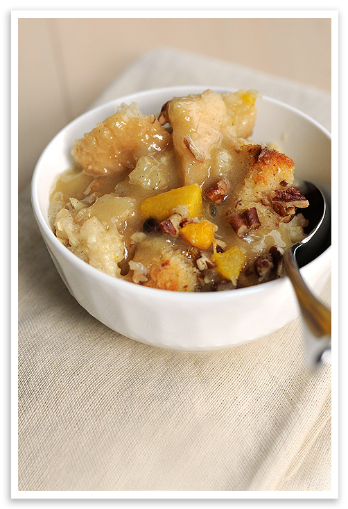 Marvin's Peachy Bread Pudding