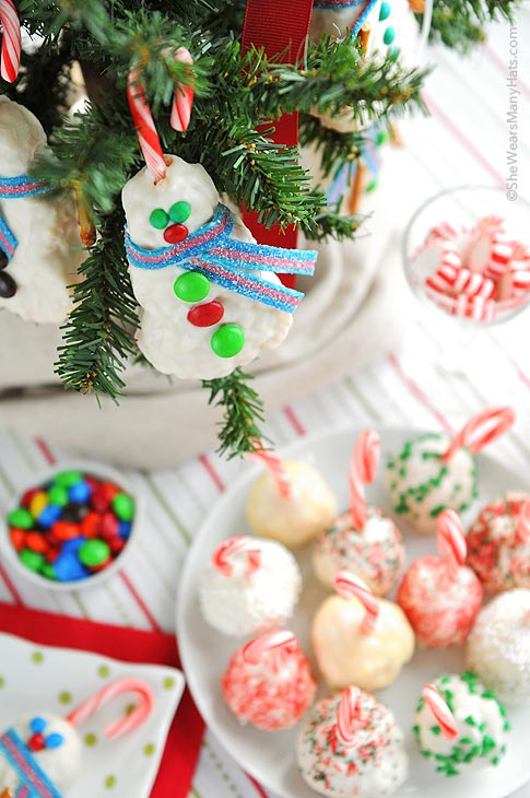 peppermint rice krispies treats snowballs are such a fun treat to make for the holidays