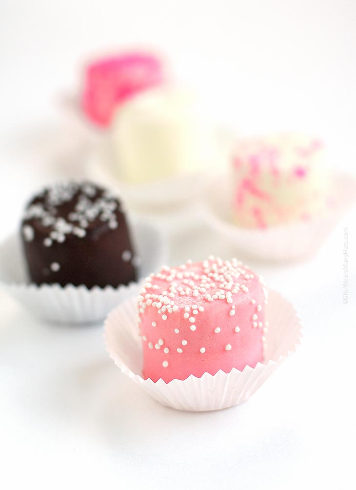 chocolate dipped pink party marshmallows