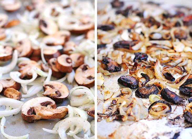 roasted mushrooms and onions