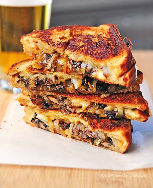 Grilled Cheese With Gouda Roasted Mushrooms And Onions