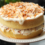 Vanilla Cake with Toasted Coconut Frosting