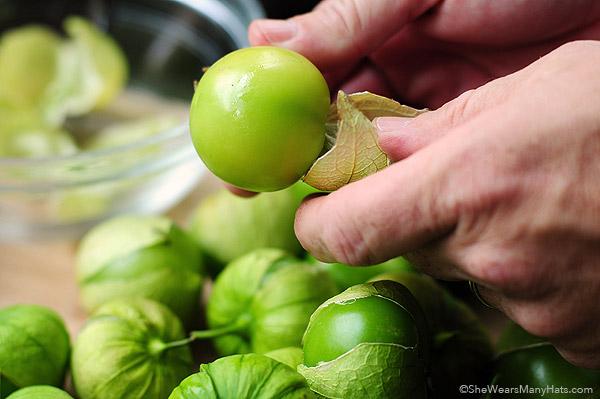 ... 'll need: tomatillos, jalapeños, onion, garlic, cilantro and salt