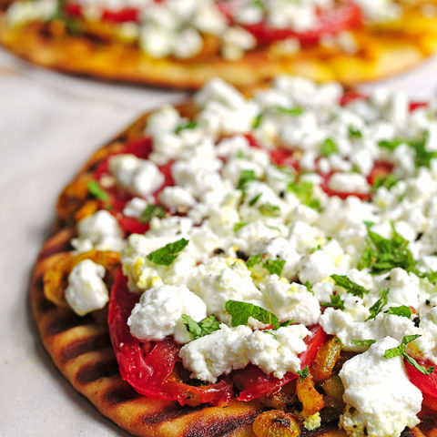 Grilled Spicy Naan with Goat Cheese