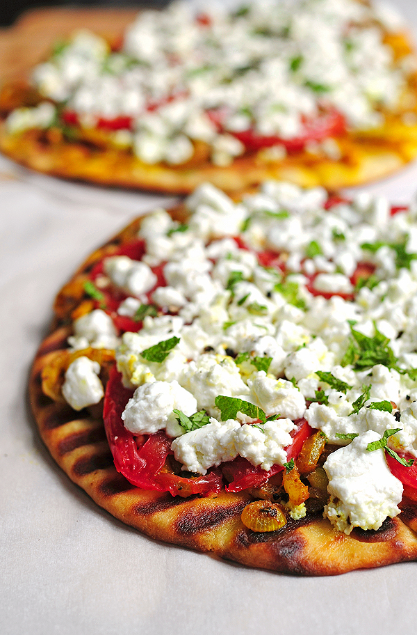 Spice things up with this easy Grilled Spicy Naan with Goat Cheese .