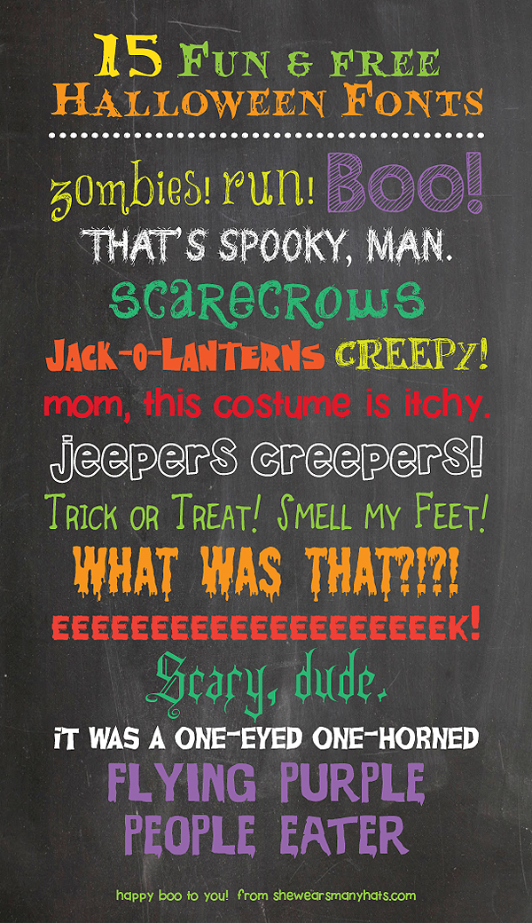 15 Fun and Free Halloween Fonts from SheWearsManyHats.com