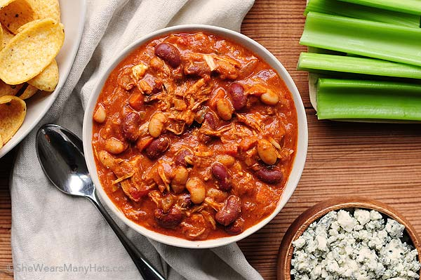 recipe for Buffalo Chicken Chili that will disappear quick so make ...