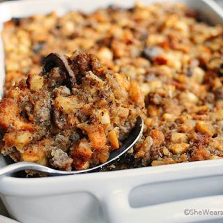 Sausage and Mushroom Stuffing Recipe | shewearsmanyhats.com