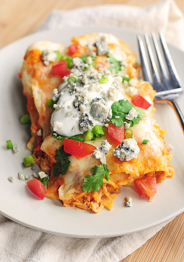 Buffalo Chicken Enchiladas Recipe   shewearsmanyhats.com