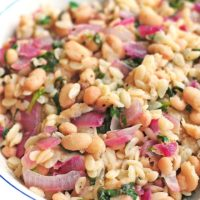 Skillet Orzo with Spinach, Bean and Lemon Recipe