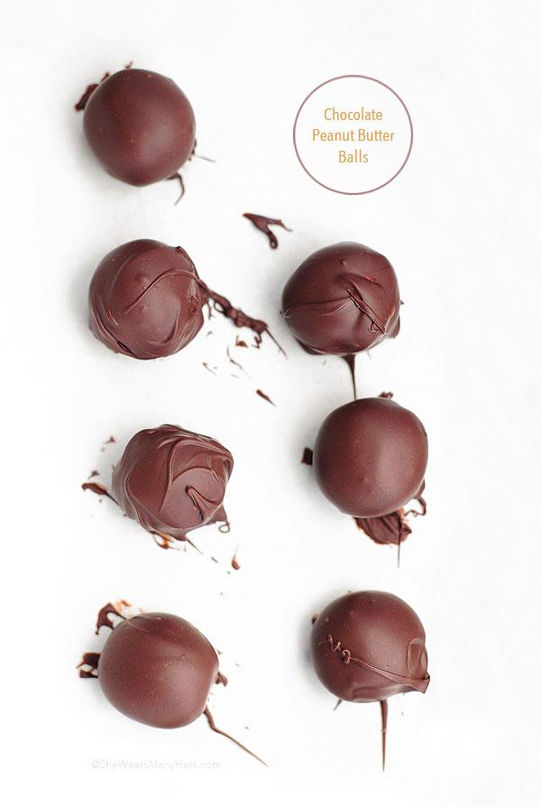 Chocolate Peanut Butter Balls Recipe | shewearsmanyhats.com
