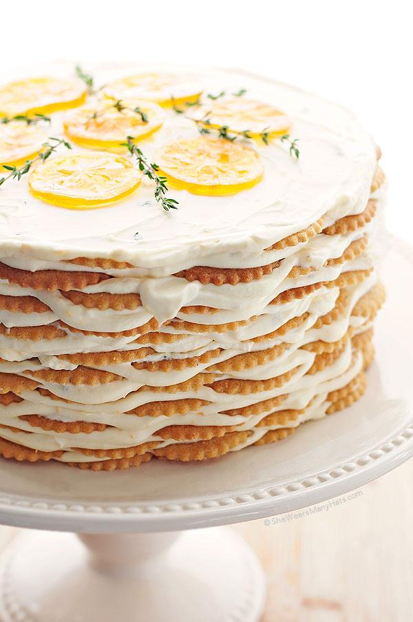 Meyer Lemon Thyme Icebox Cake Recipe She Wears Many Hats