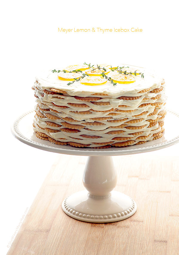 Easy Meyer Lemon and Thyme Icebox Cake Recipe | shewearsmanyhats.com