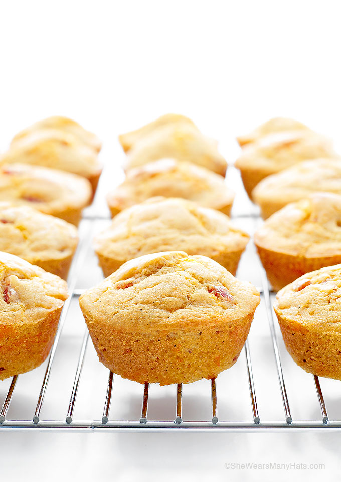 Ham Cheese Breakfast Muffins Recipe These Ham and Cheese Breakfast Muffins are savory muffins with a touch of spice that are perfect for breakfast, but also for brunch or as a side with chili or stew. | shewearsmanyhats.com #muffins #breakfast #recipe