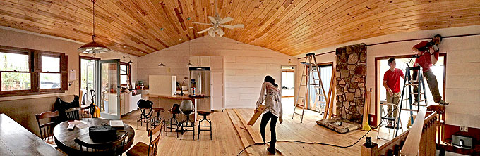 DIY Popcorn Ceiling covered with Cypress V-Groove Wood