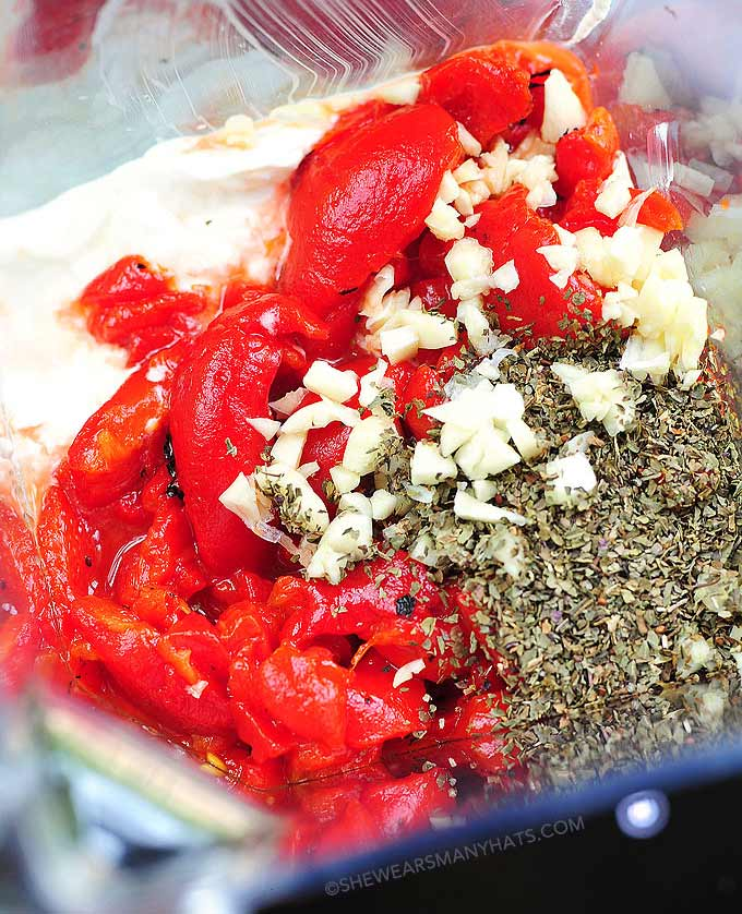 Easy Roasted Red Pepper Dip Recipe - She Wears Many Hats