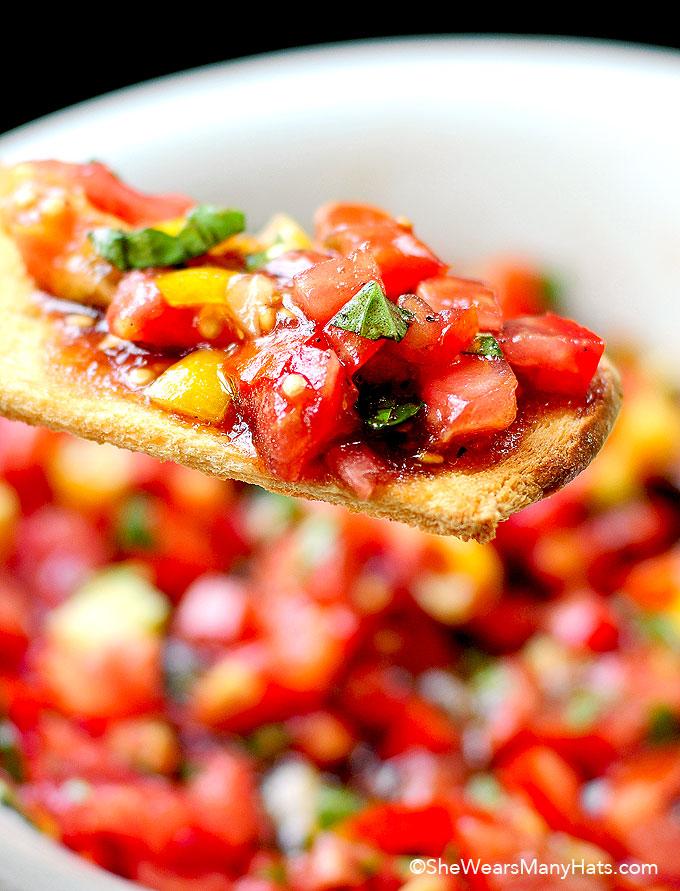 Tomato Basil Bruschetta Recipe shewearsmanyhats.com