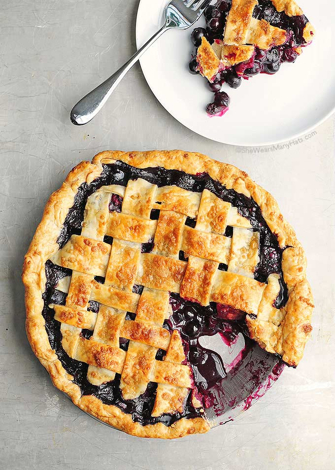 homemade blueberry pie with a lattice top