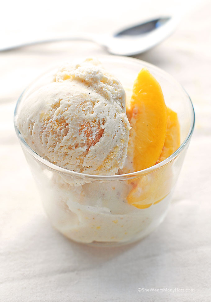 Homemade Peach Ice Cream Recipe - She Wears Many Hats