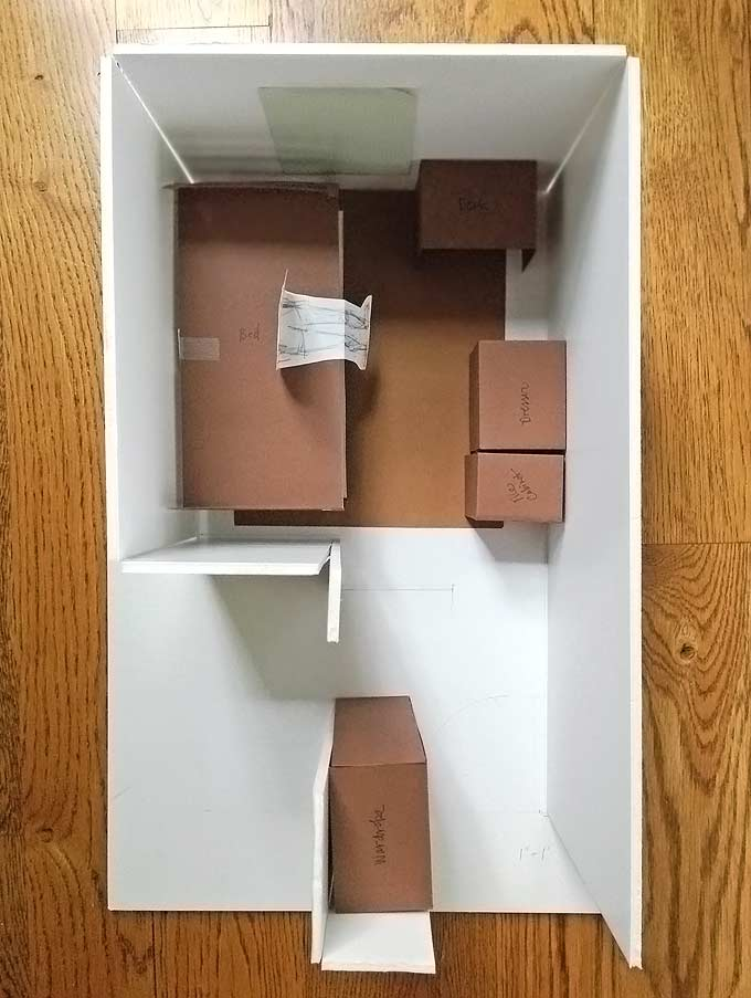 homemade dorm room model