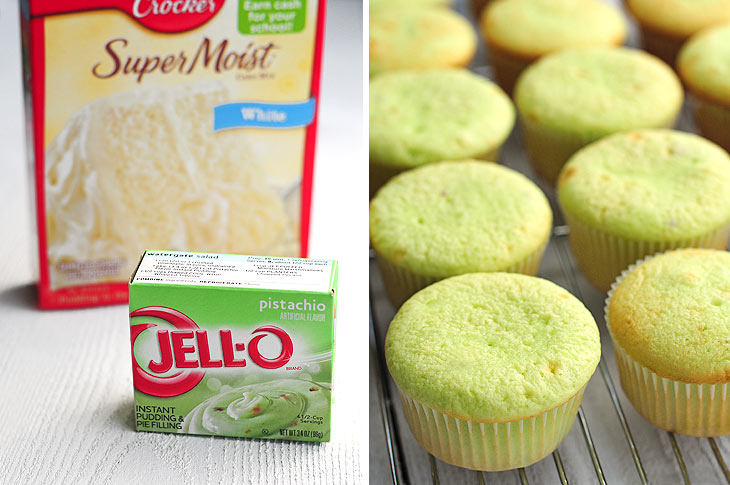 Pudding and Cake Mix Pistachio Cupcakes