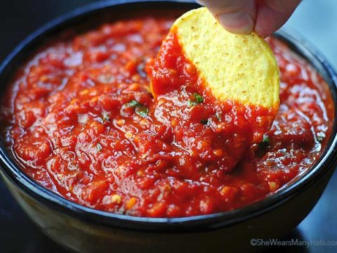 Spicy Roasted Tomato Chipotle Salsa Recipe She Wears Many Hats