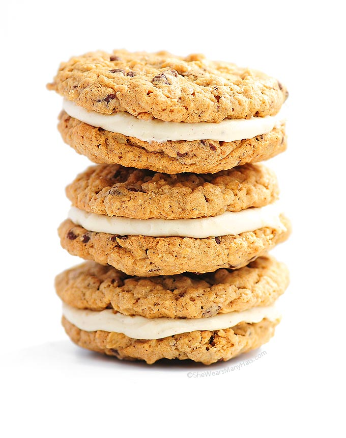 These Chocolate Chip Oatmeal Cookie Creme Pies are an easier version ...