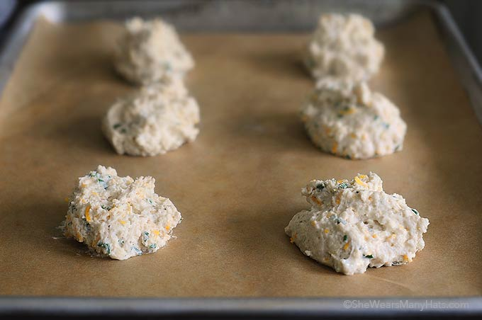 Sour Cream Cheddar and Chives Drop Biscuits Recipe | She Wears Many ...
