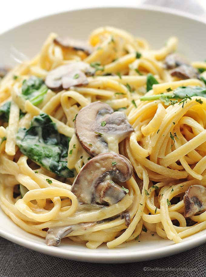 Mushroom Florentine Pasta Recipe | She Wears Many Hats