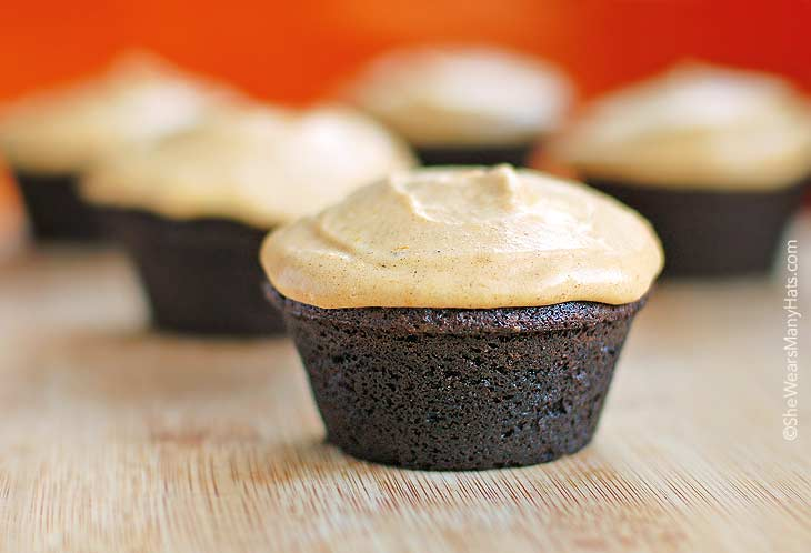Chocolate Muffins with Pumpkin Cream Cheese Frosting