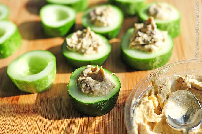 These Olive Cucumber Hummus Cups use only three ingredients to create a tasty and healthy appetizer or snack.