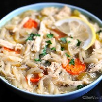 Lemon Chicken Orzo Soup Recipe | shewearsmanyhats.com