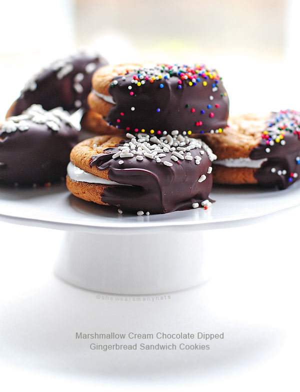 Marshmallow Creme Filled Chocolate Dipped Sandwich Cookies