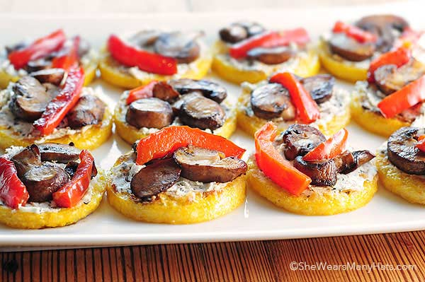 Polenta Pizzas with Goat Cheese Sauteed Mushroom and Peppers Recipe shewearsmanyhats.com