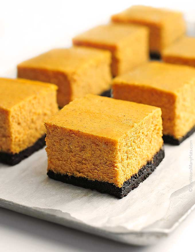 Pumpkin Cheesecake Bars Recipe | She Wears Many Hats