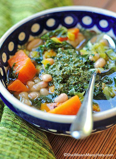 sweet potato soup with walnut pesto