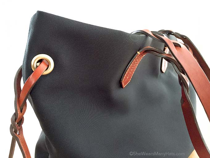 leather trim tote