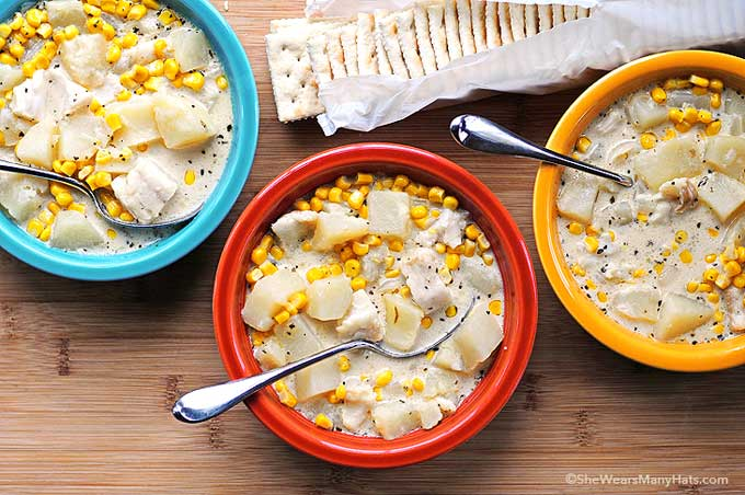 This hearty Fish and Corn Chowder (aka Colorado Cape Cod Chowder) is the perfect bowl of comfort made with potatoes, cod and herbs.