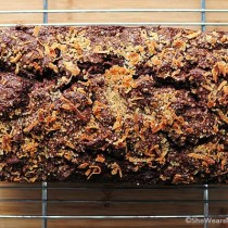 This Dark Chocolate Banana Bread topped with toasted coconut is delicious!