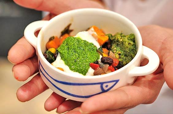 A quick chili chowder recipe, Spicy Black Bean and Corn Chowder, with yummy Sonoma Pesto.