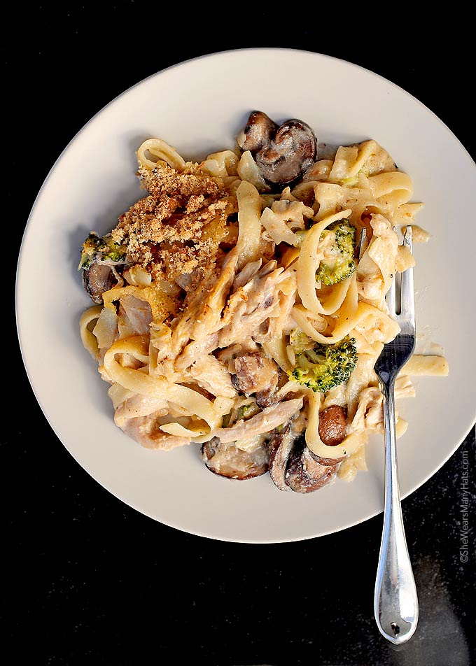 This Turkey Tetrazzini is a delicious way to use leftover turkey. This ...