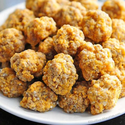 These Sausage Balls are the perfect savory bite for serving at parties. This recipe is easy and made without baking mix.