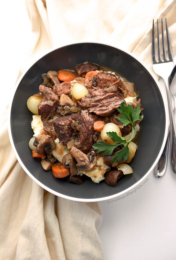Beef Bourguignon is a favorite classic beef stew that is full of flavor. And it gets better with age. Make it a day ahead and let it mingle.