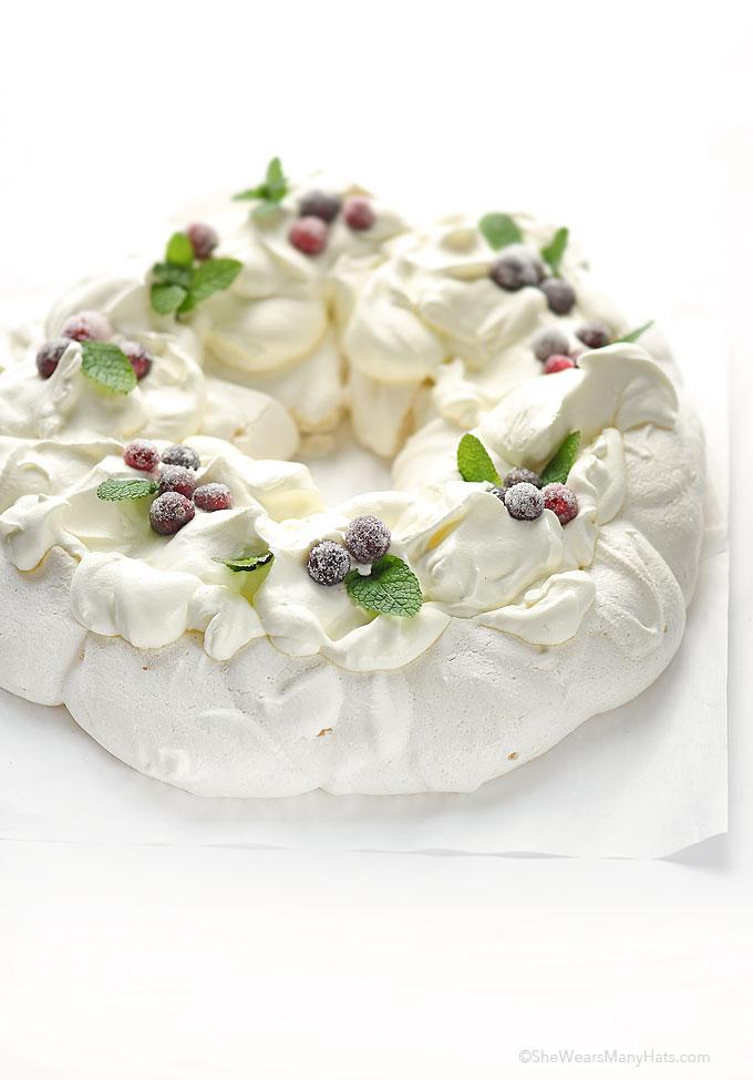 Holiday Pavlova Wreath Recipe She Wears Many Hats
