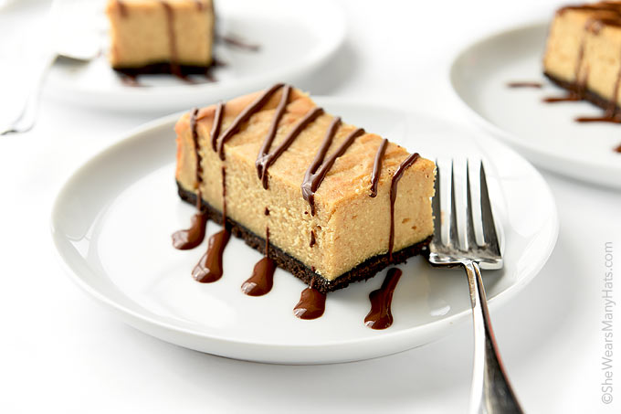 Chocolate Peanut Butter Cheesecake Bars Recipe | shewearsmanyhats.com
