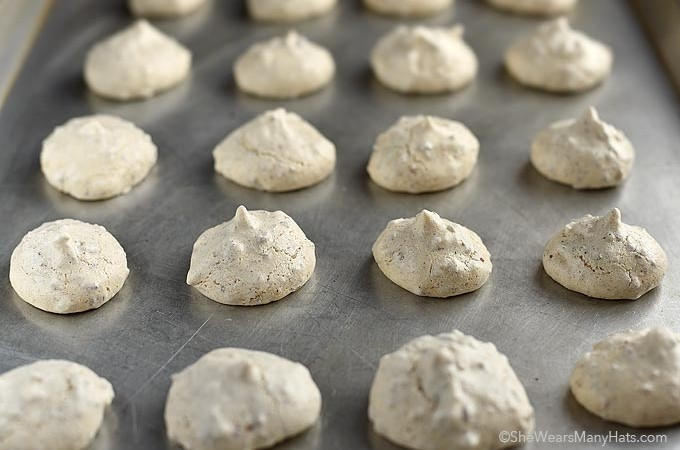 These crispy Pecan Meringue Cookies are sweet bites with a crunchy exterior and chewy nutty inside.