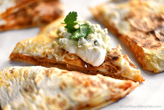 Buffalo Chicken Quesadillas Recipe | She Wears Many Hats
